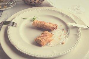 Eating vegetarian rolls