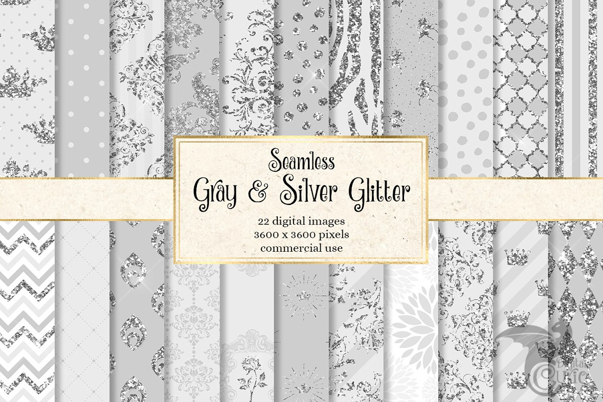 Gray and Silver Glitter Patterns