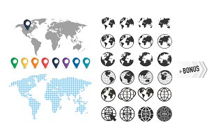 Set of earth globe icons