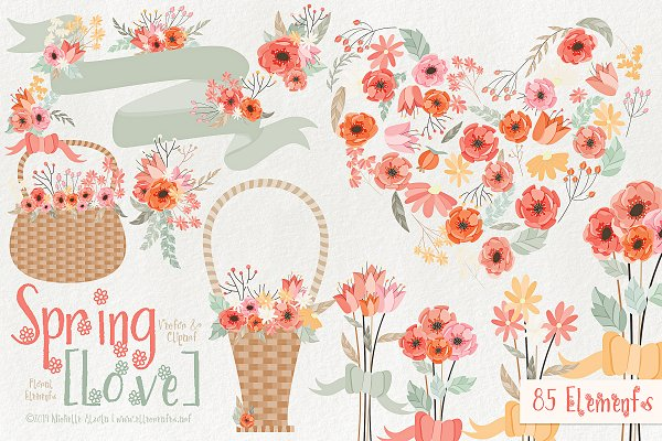 Spring Love 01 Peach & Mint Vector