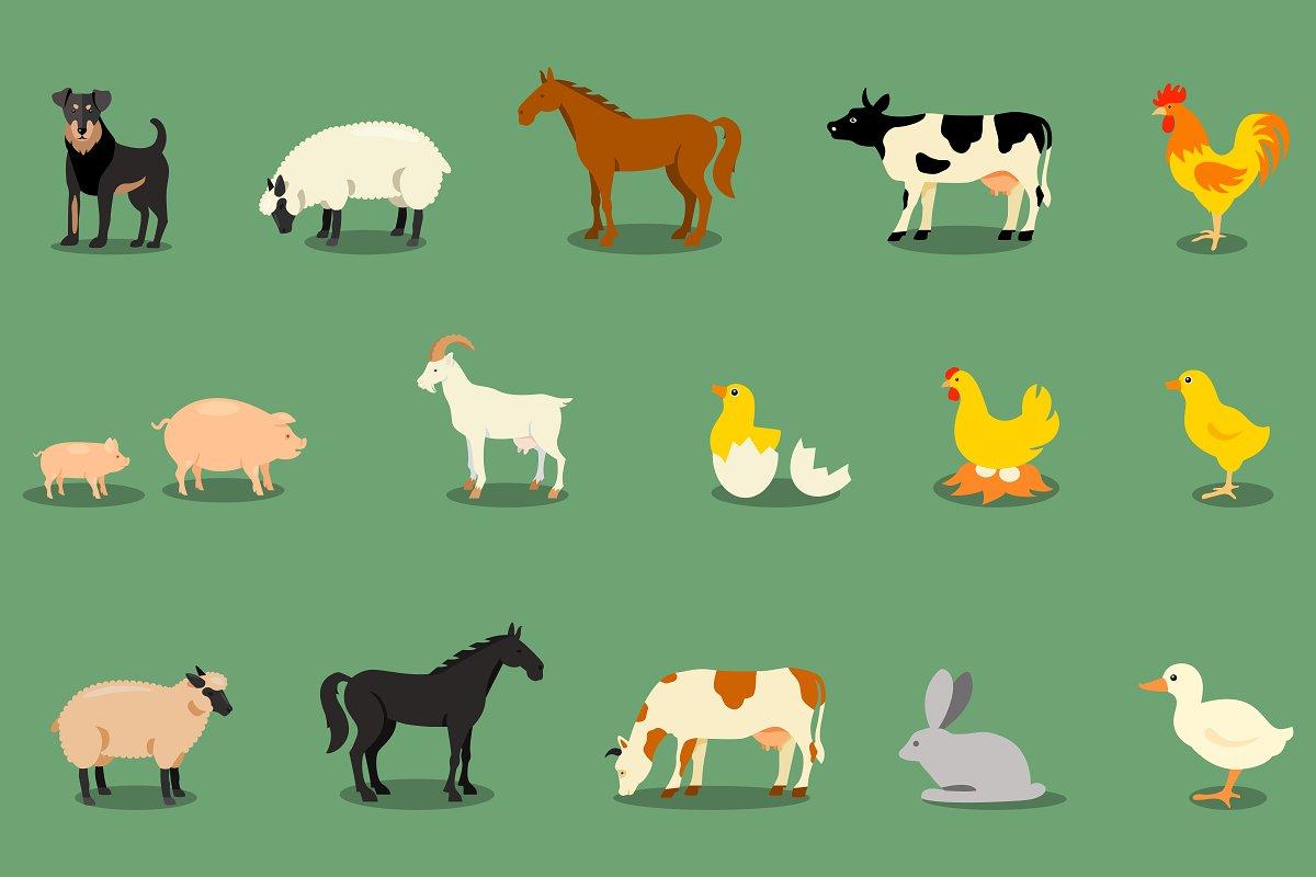 Farm animals flat icons