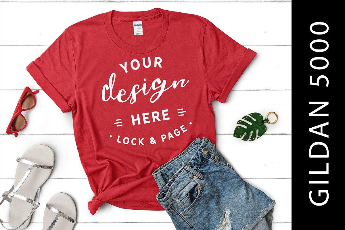 dd20a9c4f1785 Girls Red Gildan 5000 T-Shirt Mockup