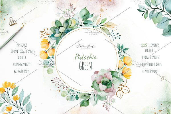Pistachio Green.Watercolor set 110+