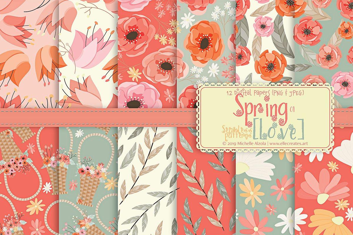 Spring Love 01 Seamless Patterns