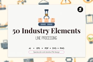 50 Industry elements flat icon