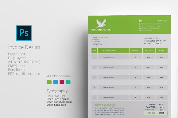 Business Invoice Template Stationery Templates Creative Market - Business invoice templates