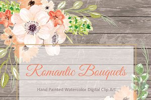 Watercolor Romantic Bouquets clipart