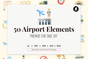 50 Airport elements flat icon