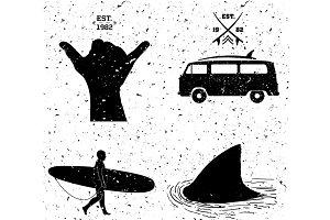 surfing designs, grunge style.