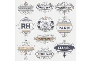 Set of 10 vintage logos/labels