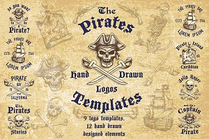 Set of hand drawn pirates templates