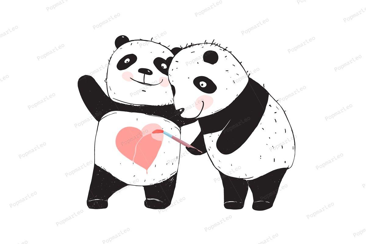 Save panda bear drawing love heart