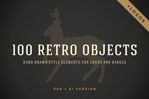 100 Retro objects for logos
