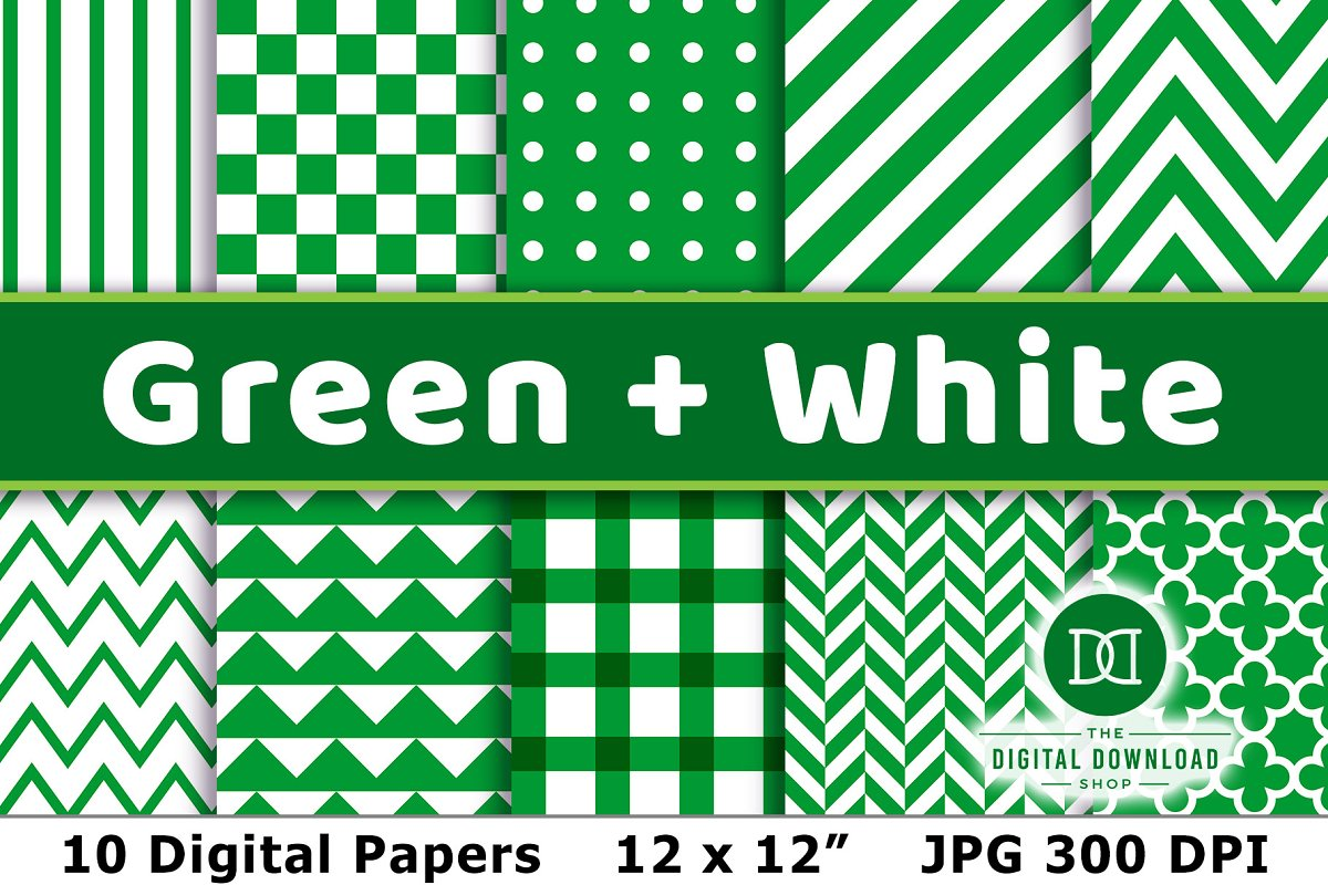 Green and White Digital Papers