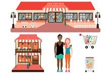 Shop Store Facade: Cafe and Market