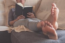 Couch and book