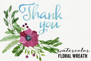 Watercolor Floral Wreath & Thank You