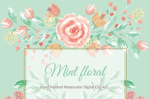 Mint watercolor flower cliparts