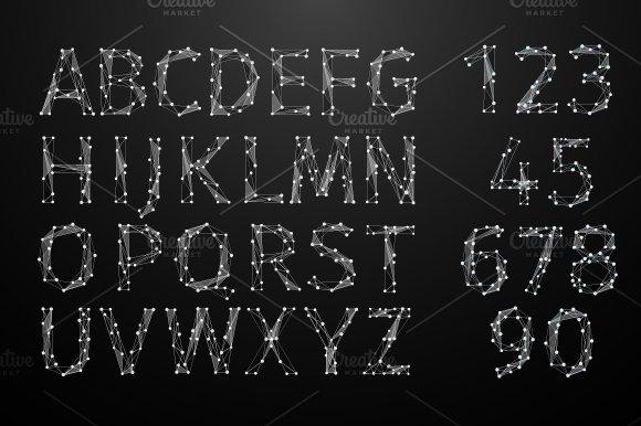 Polygonal alphabet. Art line number. - Graphics