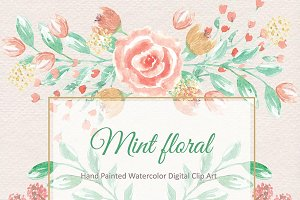 Mint/coral watercolor flower clipart