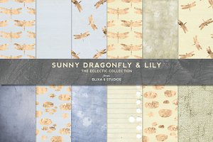 Sunny Gold Dragonfly & Lily Patterns