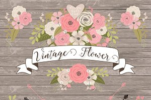 Vector vintage flower cliparts