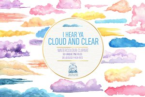 53 Gentle Watercolor Cloud BUNDLE