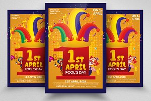 1st April Flyer Template Clown Cap