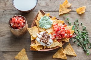 Nachos with different types of sauce