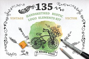 Handsketched rustic logo elements