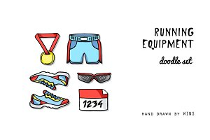 RUNNING EQUIPMENT in doodle style
