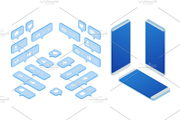 Isometric set of icon like, icon