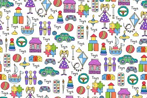 Hand drawn pattern with toys