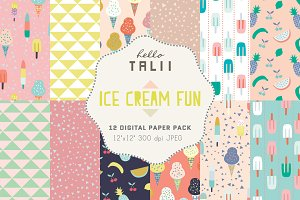 Ice Cream Fun- 12 Digital Paper Pack