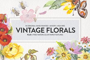 Vintage Floral Watercolors