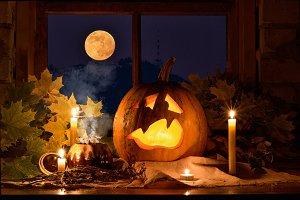 Photo pumpkins on a table