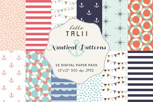 Nautical Patterns- 12 Digital Papers