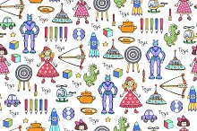 Pattern with toys for children