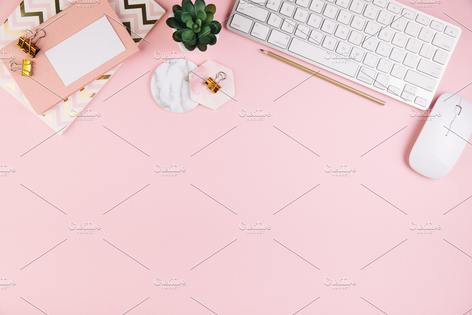 Top view pink office table desk