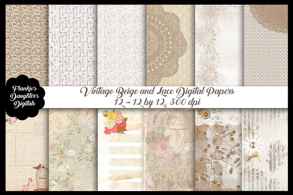 Vintage Beige & Lace Digital Papers