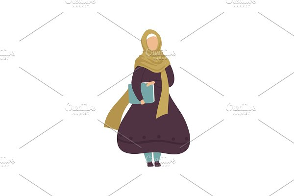 Muslim Woman Holding Folder with