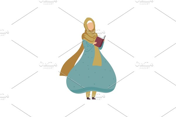 Muslim Woman Standing and Reading