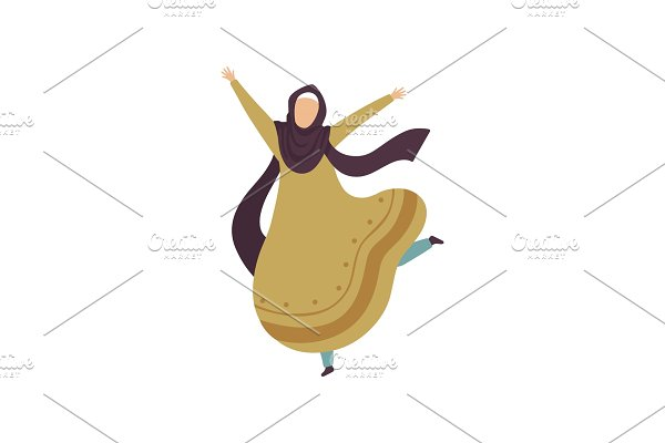 Happy Arab Muslim Woman in