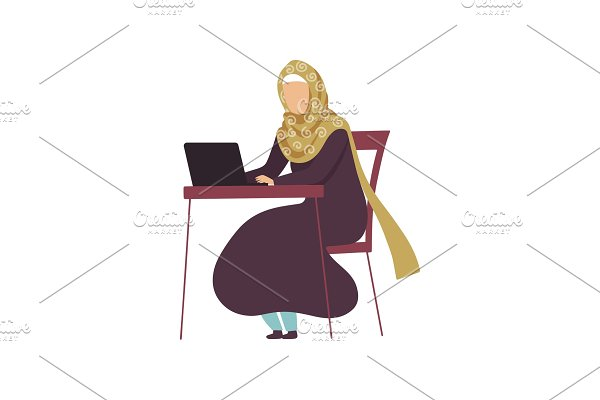 Muslim Woman Sitting at Desk