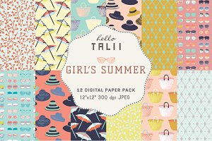 Girl's Summer- 12 Digital Papers
