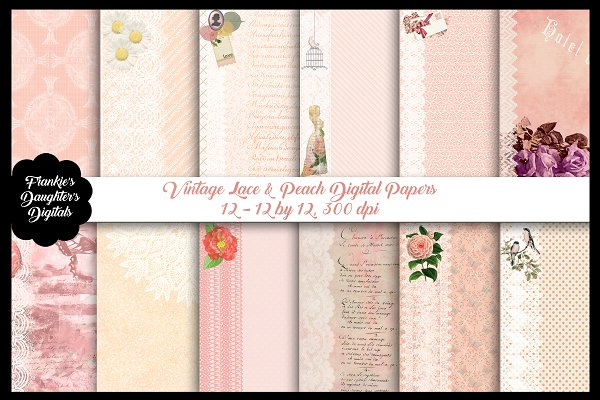 Vintage Lace & Peach Digital Papers