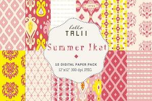 Summer Ikat Digital Paper