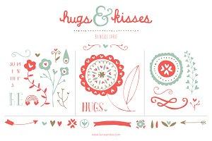 Hugs & Kisses (Clipart)