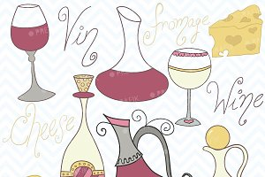 Wine and cheese clipart, commercial