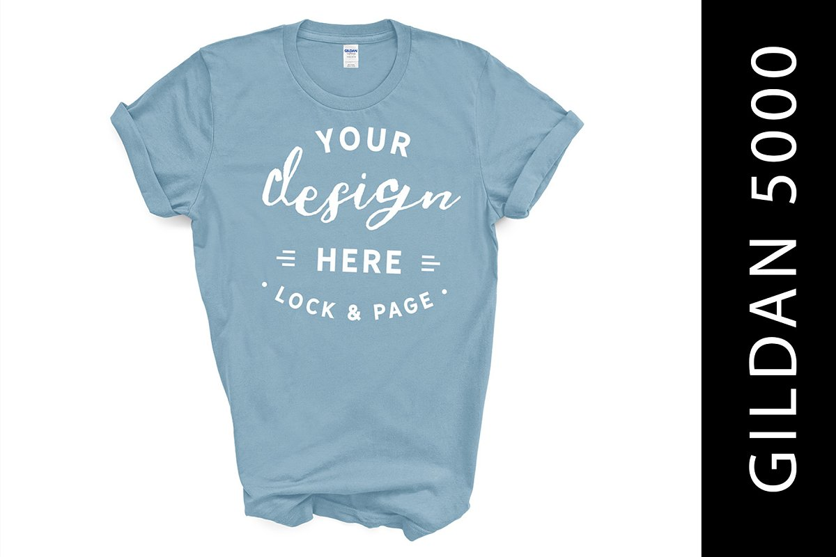 Light Blue Gildan 5000 Tshirt Mockup Creative Product Mockups